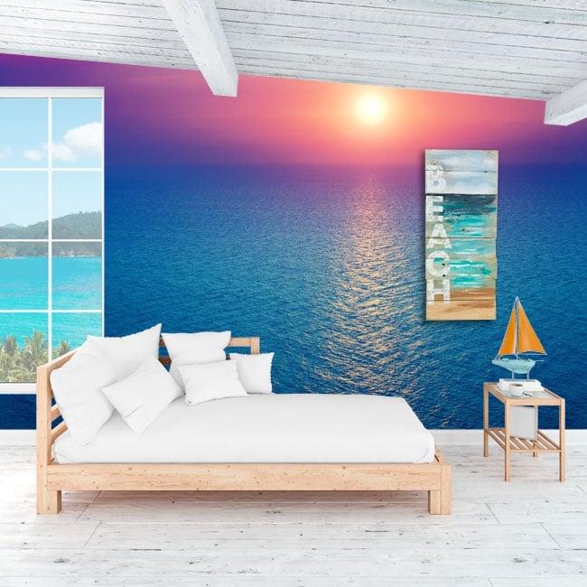 Murales de vinilos atardecer en el océano