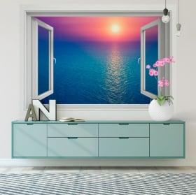 Vinilos paredes atardecer en el océano 3d