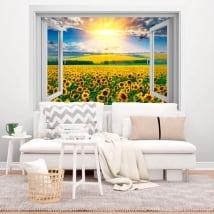 Vinilos ventanas atardecer campo de girasoles 3d