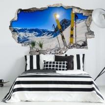 Vinilos de pared atardecer en las montañas nevadas 3d