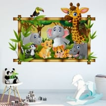 Vinilos habitaciones infantiles animales del zoo