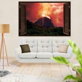 Vinilos y pegatinas ventanas erupción volcán 3d