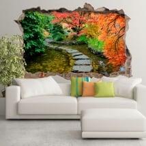 Vinilos decorativos jardín japonés agujero pared 3d