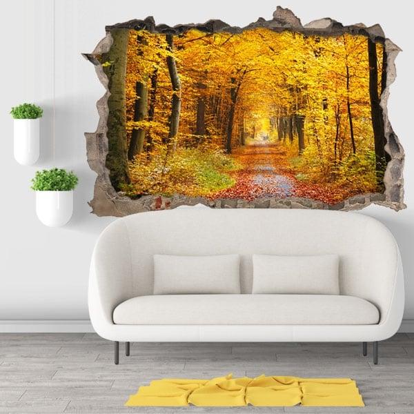 Vinilos decorativos 3d árboles en otoño