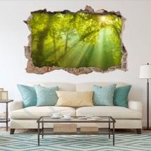 Vinilos decorativos 3d rayos de sol en el bosque