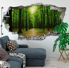 Vinilos árboles en el bosque agujero pared 3d