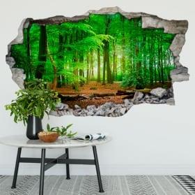 Vinilos paredes árboles en el bosque 3d