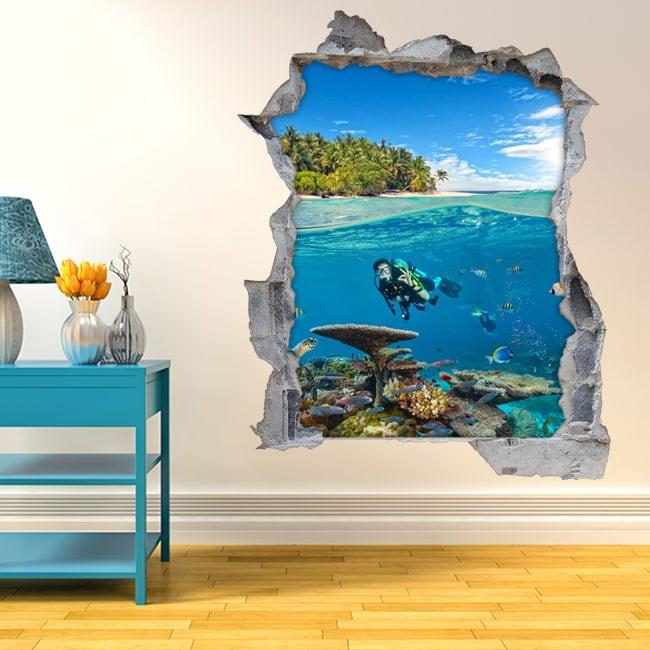 Vinilos decorativos 3d submarinista bajo el mar