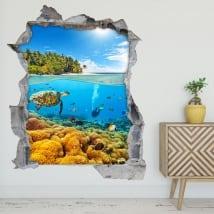Vinilos decorativos 3d submarinismo en el mar