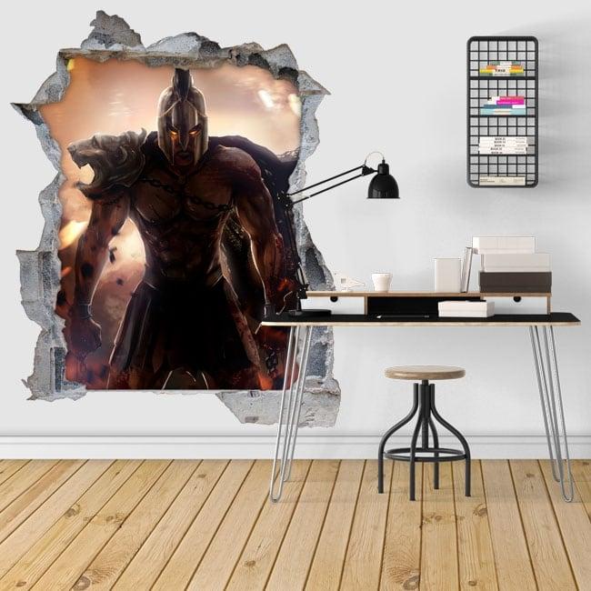 Vinilos decorativos 3d ilustración guerrero espartano