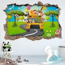 Vinilos 3d infantiles autobús animales del zoo