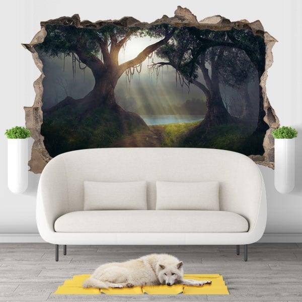 Vinilos decorativos 3d ilustración árboles bosque mágico