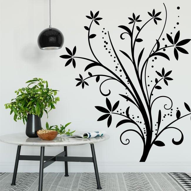 Vinilos decorativos flores para decorar paredes y objetos - Cristales decorativos para paredes ...