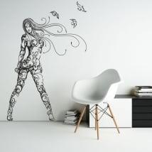Vinilos decorativos y pegatinas silueta mujer con aves