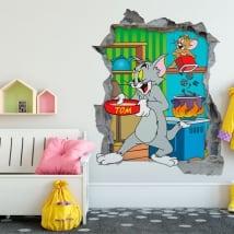 Vinilos decorativos 3d gato y ratón tom y jerry