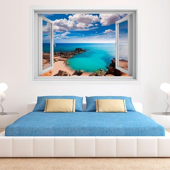 Vinilos ventanas playa es caló formentera islas baleares 3d