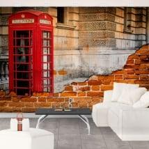 Murales inglaterra cabina telefónica londres efecto pared rota