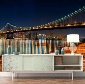 Murales de vinilos puente de brooklyn efecto pared rota