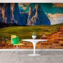 Murales de vinilos montañas dentadas efecto pared rota