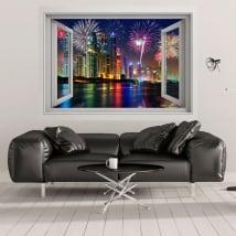 Vinilos ventanas fuegos artificiales en dubái 3d