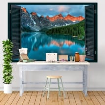 Vinilos decorativos ventanas lago moraine canadá 3d