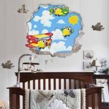 Vinilos decorativos infantiles aviones 3d