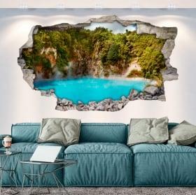 Vinilos paredes lago cráter del infierno nueva zelanda 3d