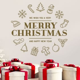 Vinilos paredes navidad merry christmas