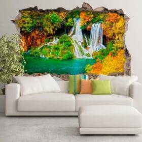 Vinilos paredes cascada bosque en otoño 3d