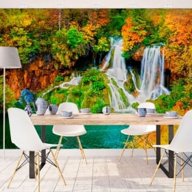 Fotomurales paredes cascada bosque en otoño