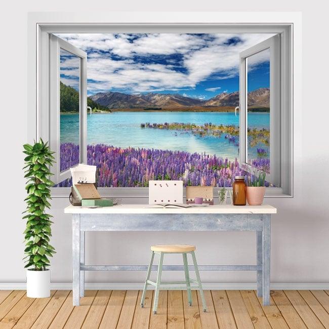 Vinilos ventanas lago tékapo nueva zelanda 3d