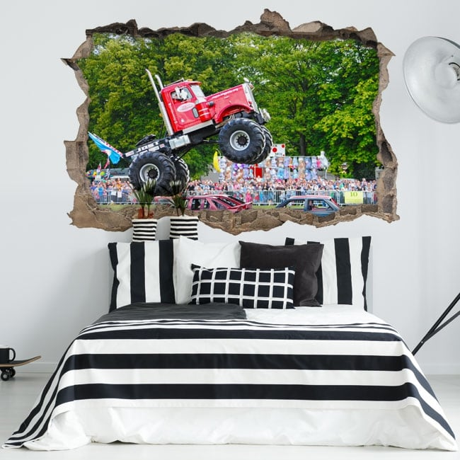 Vinilos paredes big pete monster truck 3d