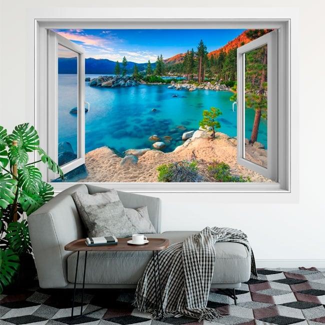 Vinilos ventanas sand harbor lago tahoe sierra nevada 3d