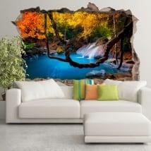 Vinilos decorativos cascada bosques de asia 3d