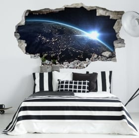 Vinilos agujero pared planeta tierra 3d