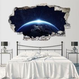 Vinilos paredes planeta tierra 3d
