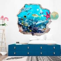 Vinilos decorativos peces y estrella de mar 3d