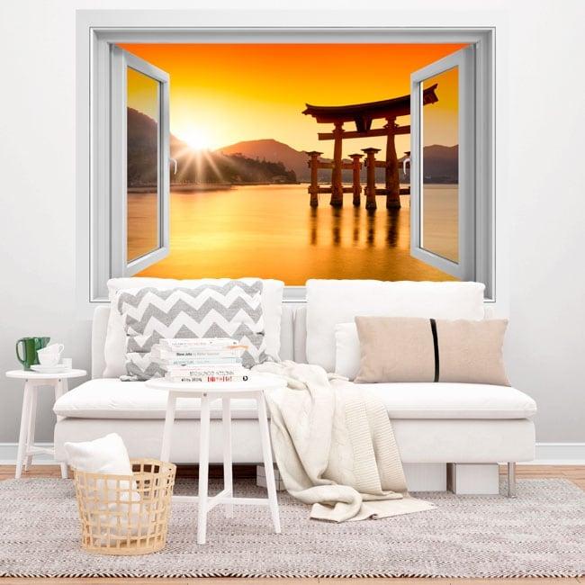 Vinilos japón torii flotante santuario itsukushima 3d