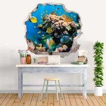 Vinilos y pegatinas peces en el mar 3d