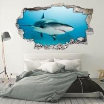 Vinilos decorativos para paredes tiburón 3d