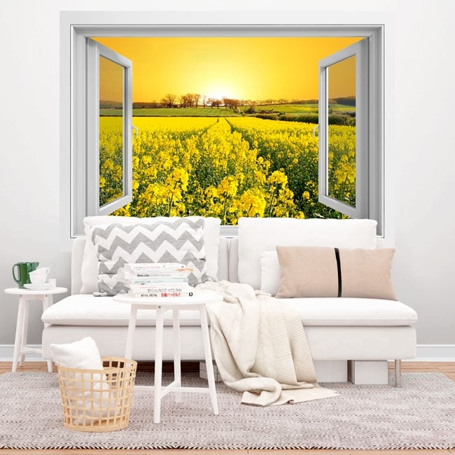Vinilos ventana atardecer en el campo de flores 3d