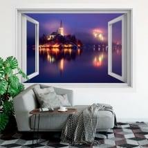 Vinilos decorativos ventanas eslovenia bled 3d