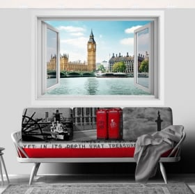 Vinilos ventana big ben londres 3d