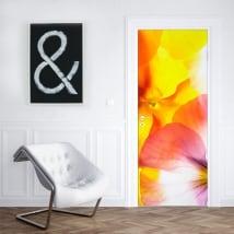 Vinilos decorativos flores para decorar puertas y armarios
