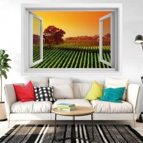 Vinilos decorativos ventana atardecer en el viñedo 3d