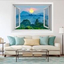 Vinilos ventanas atardecer naturaleza sri lanka 3d