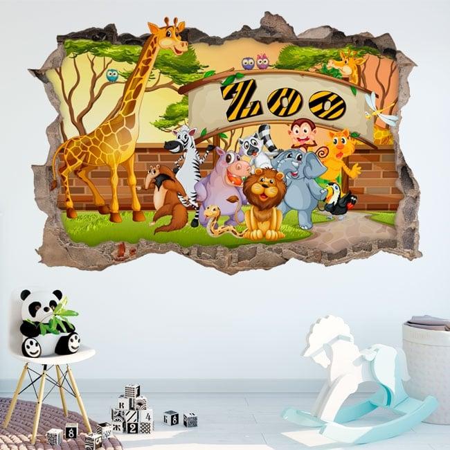 Vinilos decorativos zoo infantil 3d