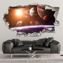 Vinilos decorativos paredes sistema solar 3d