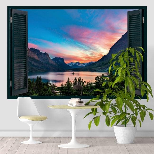Vinilos ventana lago saint mary estados unidos 3d