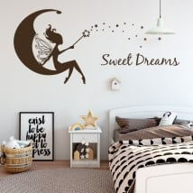 Vinilos decorativos hada en la luna sweet dreams